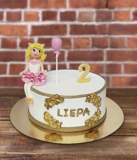 Vaikiškas tortas mergaitė balerina su balionu