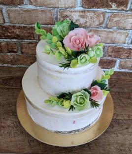 Nuogas (nude, naked) tortas su gėlėmis