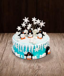 Vaikiškas tortas pingvinai