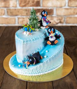 Kalėdinis Naujametinis tortas pingvinai