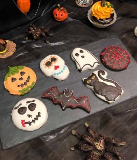 HELOVINO (Halloween) meduoliukas (katė, moliūgas, šikšnosparnis, vaiduoklis, kaukolė, voratinklis)