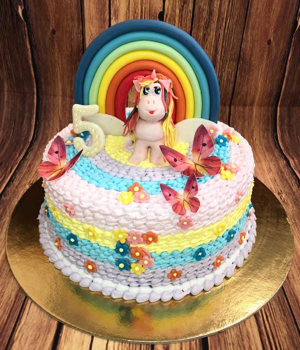 Vaikiškas tortas vaivorykštė su vienaragiu poniu