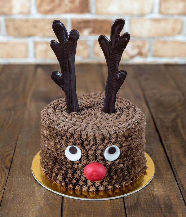 Kalėdinis Naujametinis tortas elnias